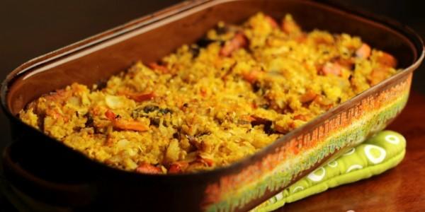 Zapečené pšeno so zeleninou a tempehom
